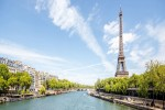 Landscape panoramic view on the Eiffel tower and Seine river in Paris