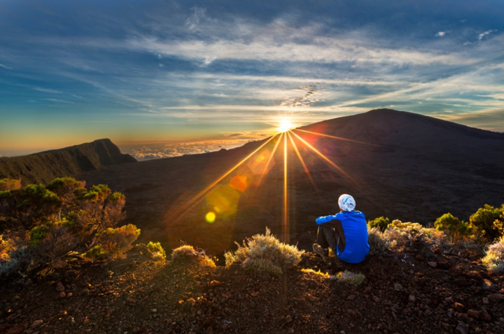 Reunion Island hiking trails sunset