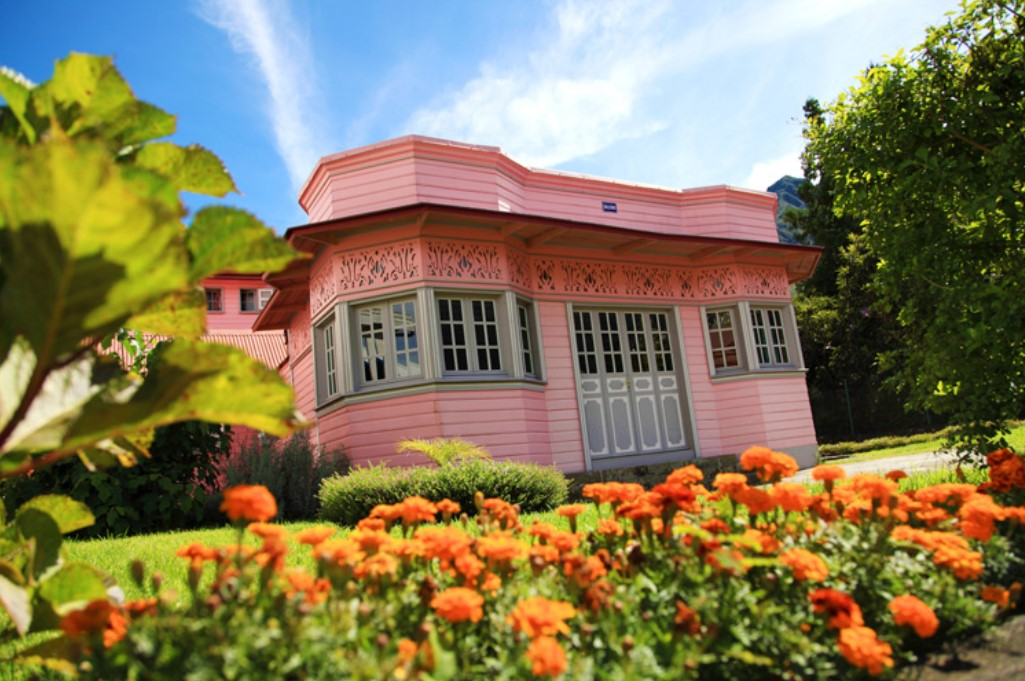 Reunion Island pink wooden house