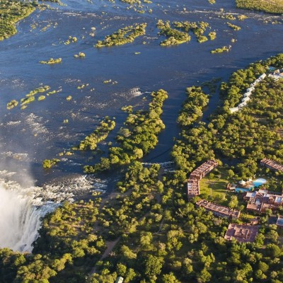Aerial View of resort and Victoria Falls