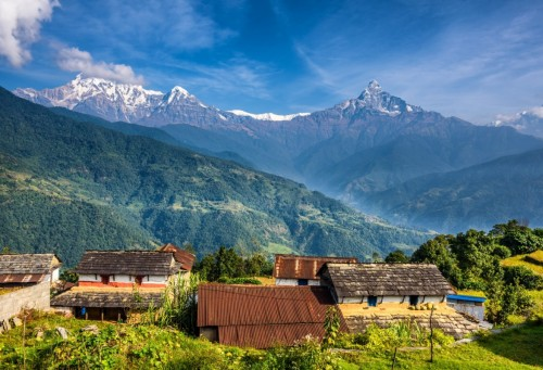 Nepalese village in the Himalaya mountains near Pokhara in Nepal iStock 504824062 1