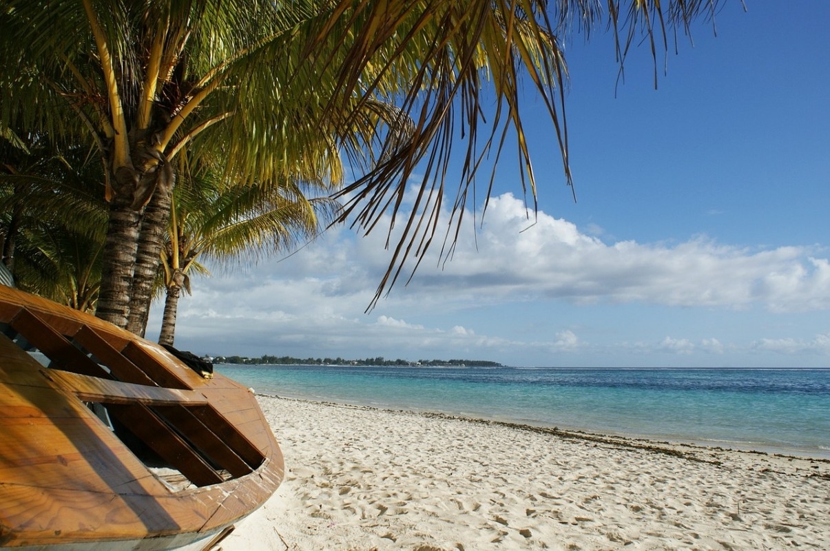 Mauritius beach with palm trees and a boat